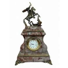 """Изображение подарка Каминные часы из креноида """"Георгий Победоносец"""""""