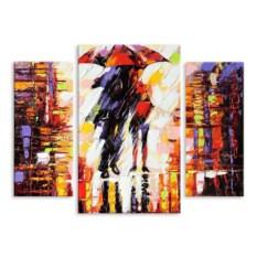 """Изображение подарка Модульная картина """"Двое под зонтом"""" 90х69 см"""
